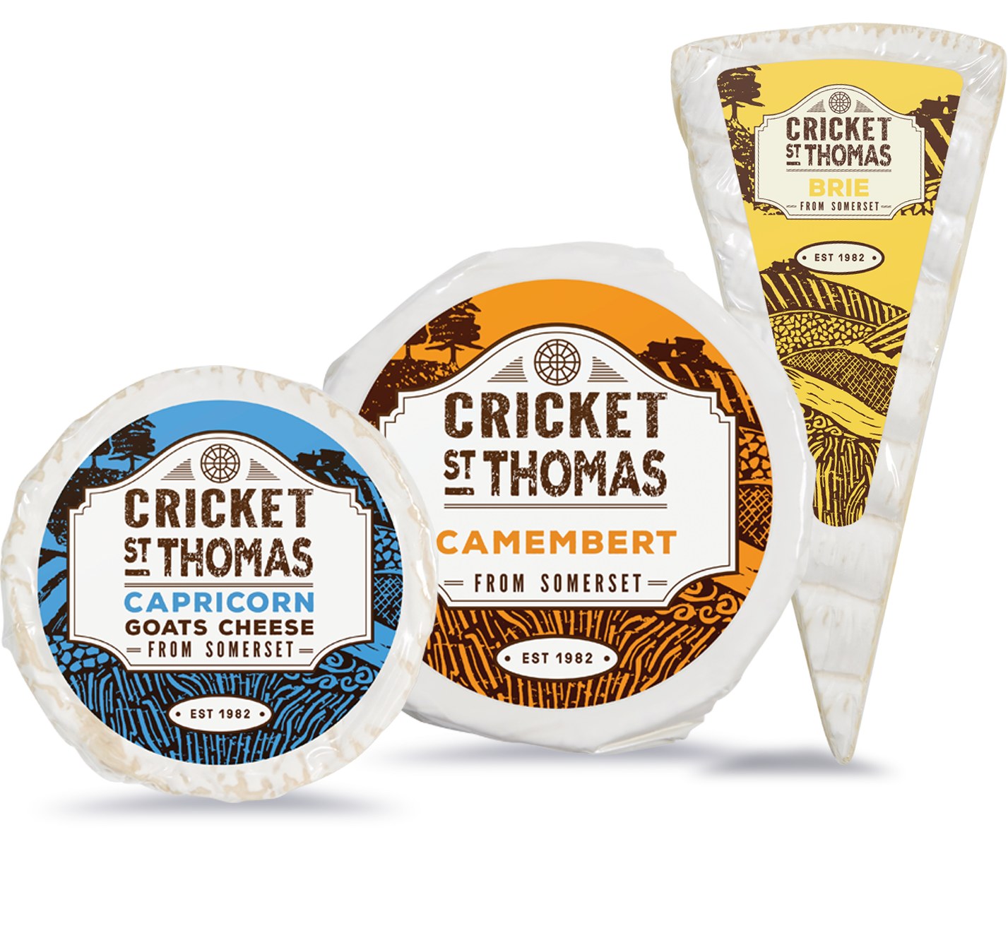 The collection of cheeses Cricket St Thomas Make